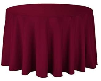 """Gee Di Moda Tablecloth - 108"""" Inch Round Tablecloths for Circular Table Cover in Burgundy Washable Polyester - Great for Buffet Table"""
