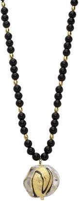 Valentina Genuine Murano Glass Black Bead and 24ct Gold Foil Necklace of 47cm+8cm extender