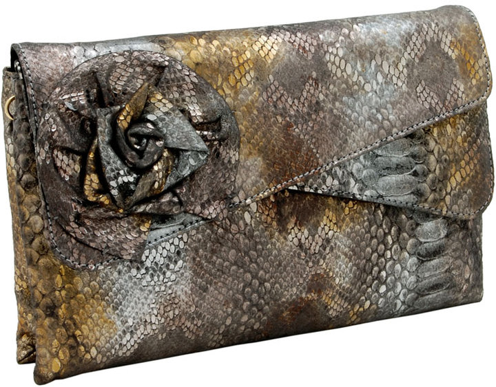 Inge Christopher Marie Metallic Boa Clutch