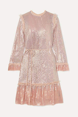 Needle & Thread Tulle-trimmed Sequined Chiffon Dress - Blush