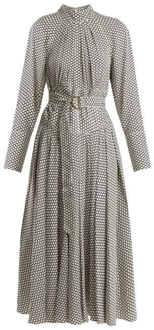 Rowe dot-print stretch-silk dress