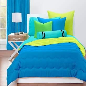 Crayola Reversible Comforter With Sham Set Cerulean Blue/Granny Smith Apple