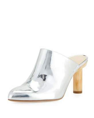 Tibi Zoe Metallic Mule with Wooden Heel