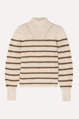 Etoile Isabel Marant Georgia Striped High-neck Alpaca-blend Sweater - Ecru