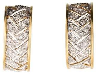 18K Diamond J Hoop Earrings