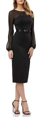 Kay Unger Chiffon & Lace Sheath Dress
