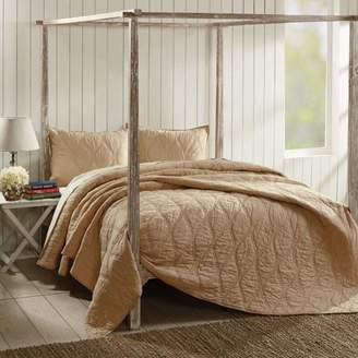 Ashton & Willow Sand Tan Farmhouse Bedding Harbour Cotton Pre-Washed Cambric Solid Color King Quilt