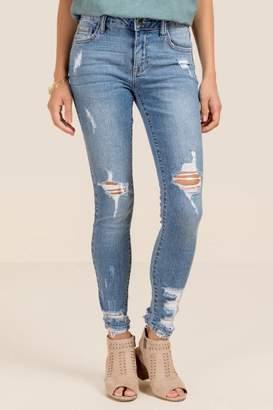 Gloria Mid Rise Chewy Hem Jeans - Medium Wash