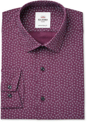 Ben Sherman Men's Slim-Fit Burgundy & Paisley Print Dress Shirt