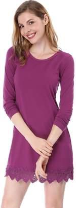 Allegra K Women's Long Sleeves Scalloped Lace Hem Above Knee Dress S
