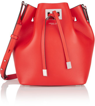 Michael Kors Collection - Miranda Medium Leather Bucket Bag - Tomato red $695 thestylecure.com