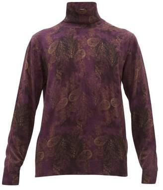 Etro Paisley Print Roll Neck Wool Sweater - Mens - Purple