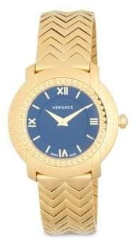 Versace Stainless Steel Chevron Patterned Bracelet Watch