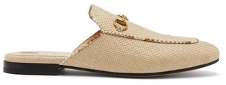Gucci Princetown Raffia & Leather Backless Loafers - Womens - Beige