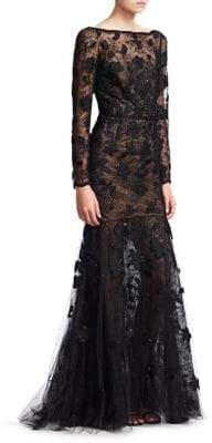 Oscar de la Renta Long-Sleeve Mermaid Gown