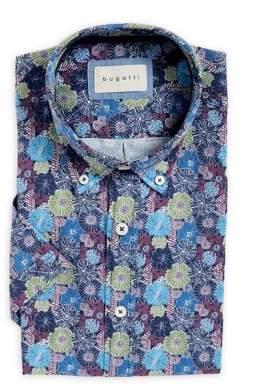 Bugatti Loose-Fit Floral-Print Short-Sleeve Dress Shirt