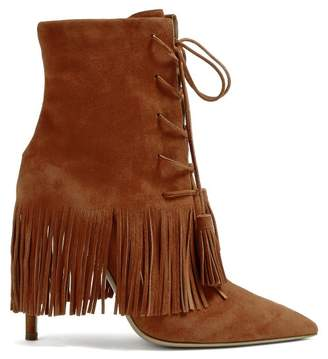 Aquazzura Mustang 105 Fringed Suede Ankle Boots - Womens - Tan