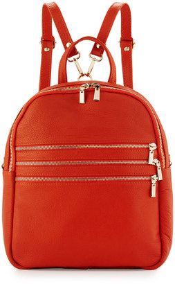Neiman Marcus Made in Italy Triple-Zip Leather Backpack, Orange $175 thestylecure.com
