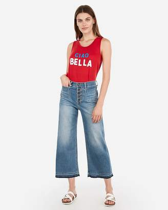 Express Ciao Bella Graphic Crew Neck Muscle Tank