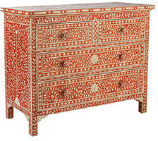 Moorish Chest - Orange Four Drawer