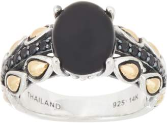 Jai JAI Sterling & 14K Cabochon & Pave Lotus Band Ring