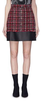 Alexander McQueen Leather panel tweed skirt