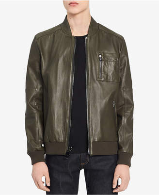 Calvin Klein Men Leather Bomber Jacket