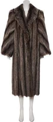 Fur Raccoon Notch-Lapel Coat