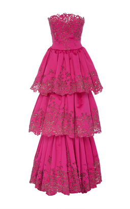 Embroidered Laser Cut Tiered Gown