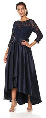Ignite Women's Sleeve Lace Top with Hi-Lo Skirt Long Gown