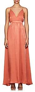 FiveSeventyFive Women's Charmeuse V-Neck Maxi Dress - Rust