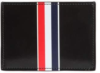 Thom Browne Stripe Print Brushed Leather Card Holder