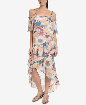 NY Collection Printed Off-The-Shoulder Tulip-Hem Dress