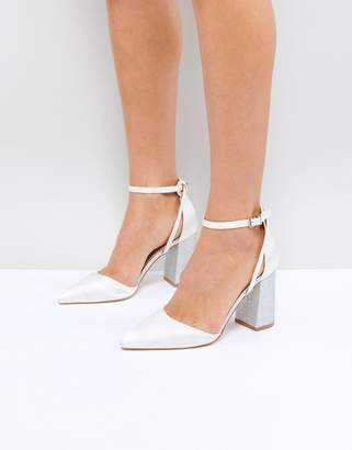 Be Mine Bridal Lissy Ivory Satin Block Heeled Shoes