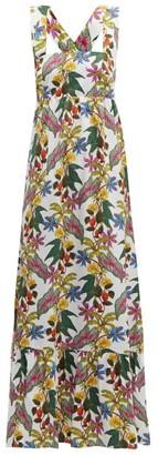 Borgo de Nor Mila Floral Print Cross Back Poplin Dress - Womens - White Multi