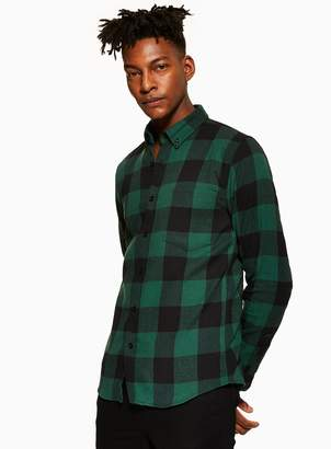 TopmanTopman ANTIOCH Green Check Long Sleeve Shirt*