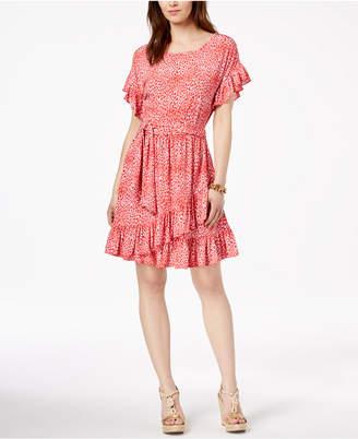 Michael Kors Printed Ruffled Faux-Wrap Dress, Regular & Petite