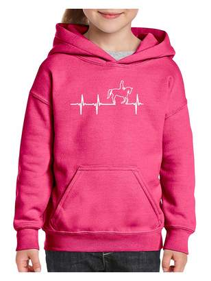 N.i.b Horseback Riding Horse Lover`s Gift Heartbeat Unisex Hoodie for Girls and Boys Youth Sweatshirt (MB)