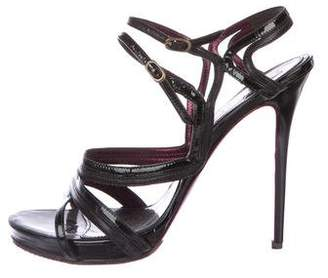 Alexander McQueen Patent Leather Ankle Strap Sandals