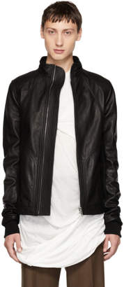 Rick Owens Black Leather Intarsia High Neck Jacket