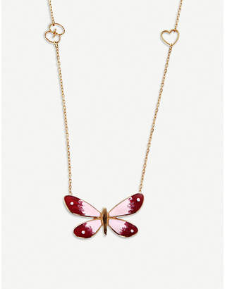 Gucci Flora 18ct rose gold butterfly necklace, gold