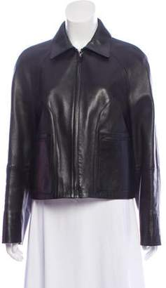 Thierry Mugler Collared Leather Jacket Black Collared Leather Jacket