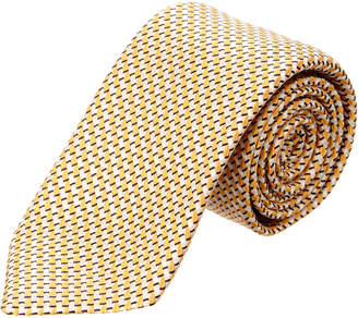 Canali Yellow & White Lines Silk Tie