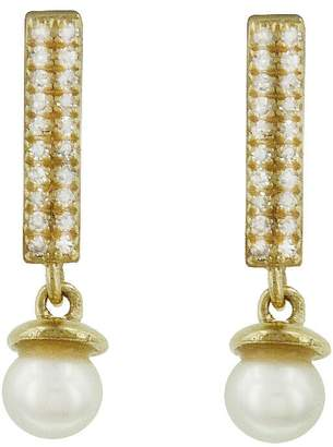 Lee Jones Collection Diamond Candy Bar and Pearl BonBon Stud Earrings - Yellow Gold