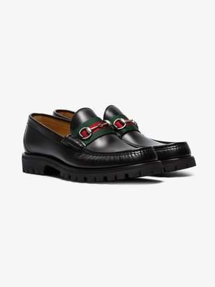 Gucci Leather Web Horsebit loafers