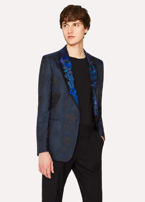 Paul Smith Men's Black Shawl Collar Tuxedo Jacket With 'Ocean' Embroidery