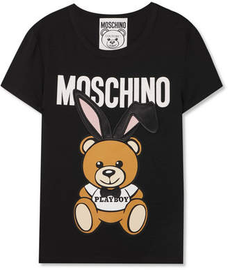Moschino - Satin-trimmed Embroidered Stretch-jersey T-shirt - Black