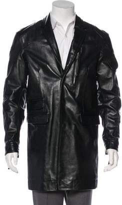 DSQUARED2 Leather Button-Up Overcoat