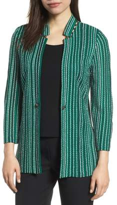 Ming Wang Stripe Jacquard Knit Jacket