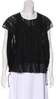 Diane von Furstenberg Short Sleeve Semi-Sheer Top